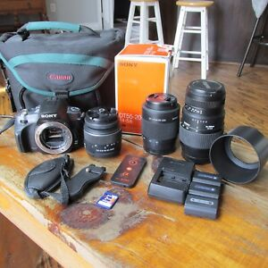 Sony a 330 dslr with 3 lenses etc
