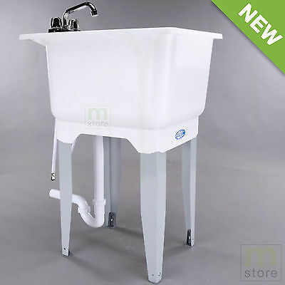 White Laundry Utility Sink Tub with Faucet and Drain Freestanding Wash Room