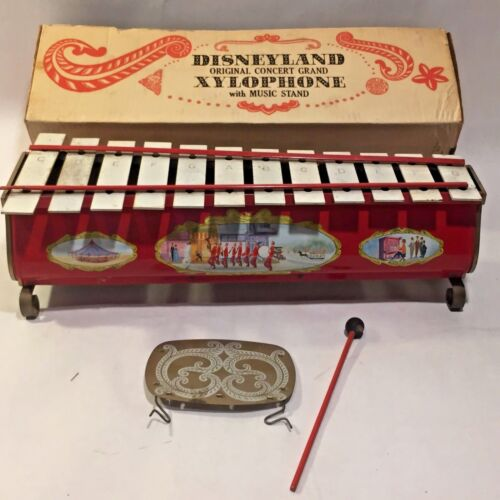 Vtg DISNEYLAND Tin Litho Toy RARE Concert Grand XYLOPHONE w Music Stand IOB
