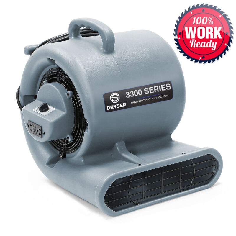 Air Mover Carpet Dryer 3 Speed 1/3 HP Floor Blower Fan Stackable, 2 GFCI Outlets