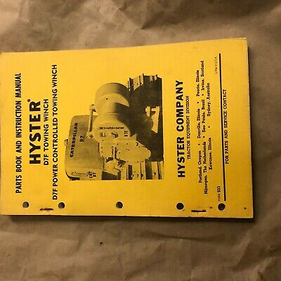 Hyster Winch Parts Catalog Instruction Manual D7f Cat Dozer Nice
