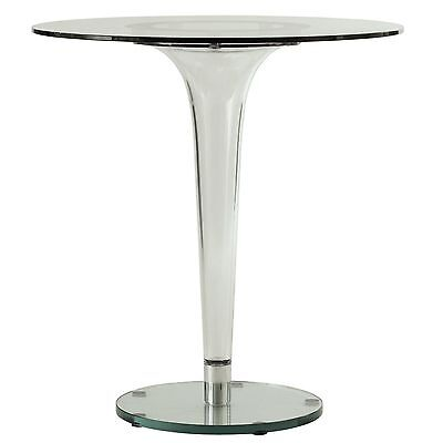 - LeisureMod Lonia Modern Bistro Glass Top Dining Table With Clear Acrylic Base