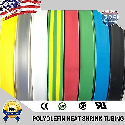 ALL SIZES  COLORS 25   100 FT Polyolefin 21 Heat Shrink Tubing Sleeving US LOT