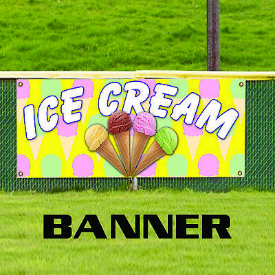 Ice Cream Advertising Vinyl Banner Sign Cone Sundae Banana Split Milk Shake
