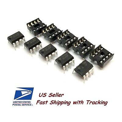 5 X Ne555 Ic 555 Dip-8 Timer With Sockets - Us Seller Fast Ship With Tracking