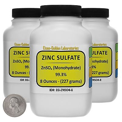 Zinc Sulfate Znso4 99.3 Acs Grade Powder 1.5 Lb In Three Plastic Bottles Usa