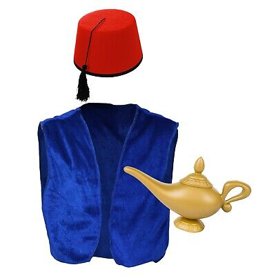 Kids Blue Arabian Genie Costume Accessories (Blue Waistcoat, Red Fez Hat & Lamp) - Arabian Costume Accessories