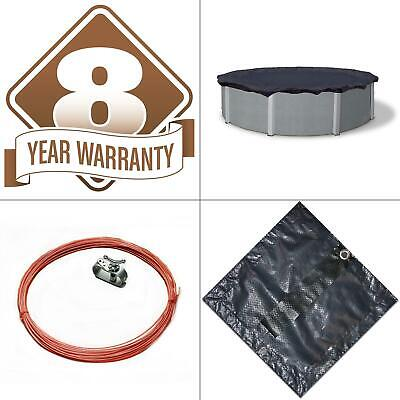 8-year 18 ft. round navy blue above ground winter pool cover   bronze wave foot