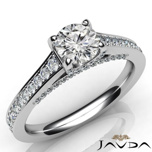 1.47ct Splendid Round Diamond Engagement Pave Set Ring GIA F VS1 14k White Gold