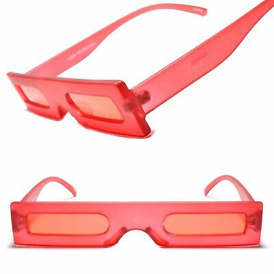 Funky Vintage Retro Hip Indie Hippie Mens Womens Rectangle Red Frame Sunglasses