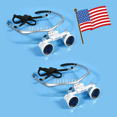 2 Sets Dental Surgical Optical Binocular Magnifier Loupesglasses 3.5x 420mm Usa