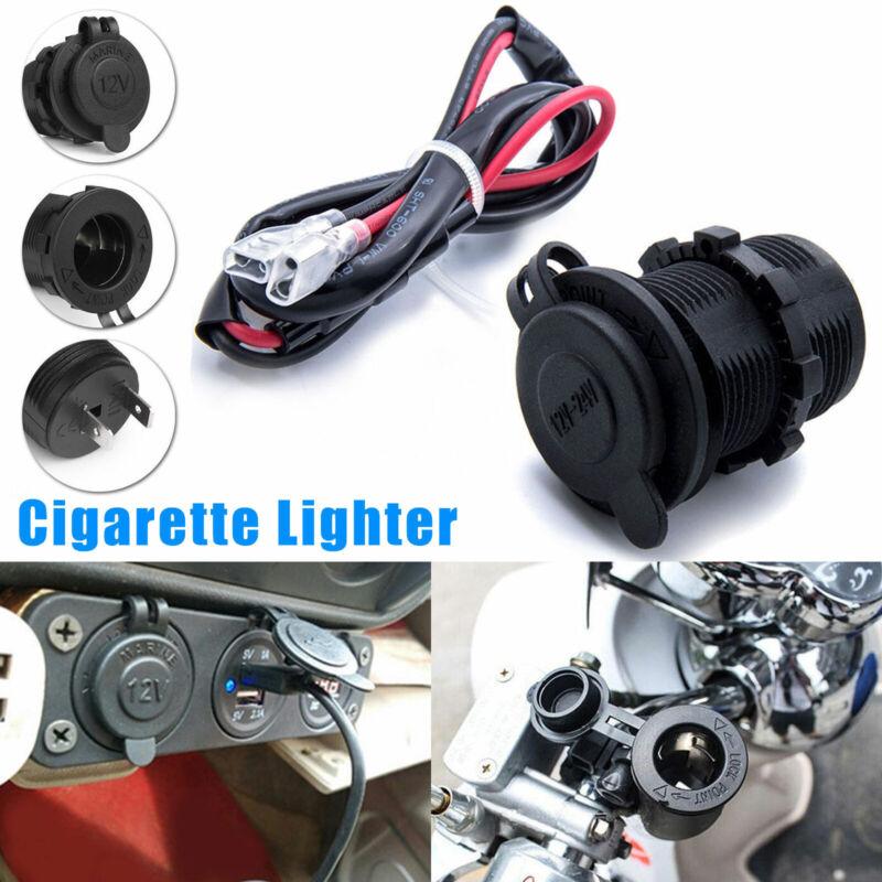 12V Waterproof Car Motorcycle Cigarette Lighter Power Socket Plug Outlet + Wire