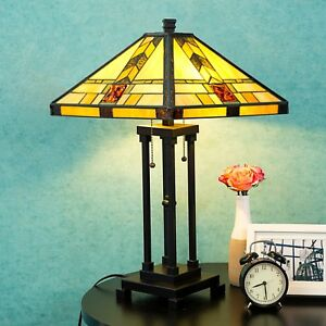 Tiffany Style Lamp Table Lamp Mission Double Lit Design Lighting Wood Home Decor