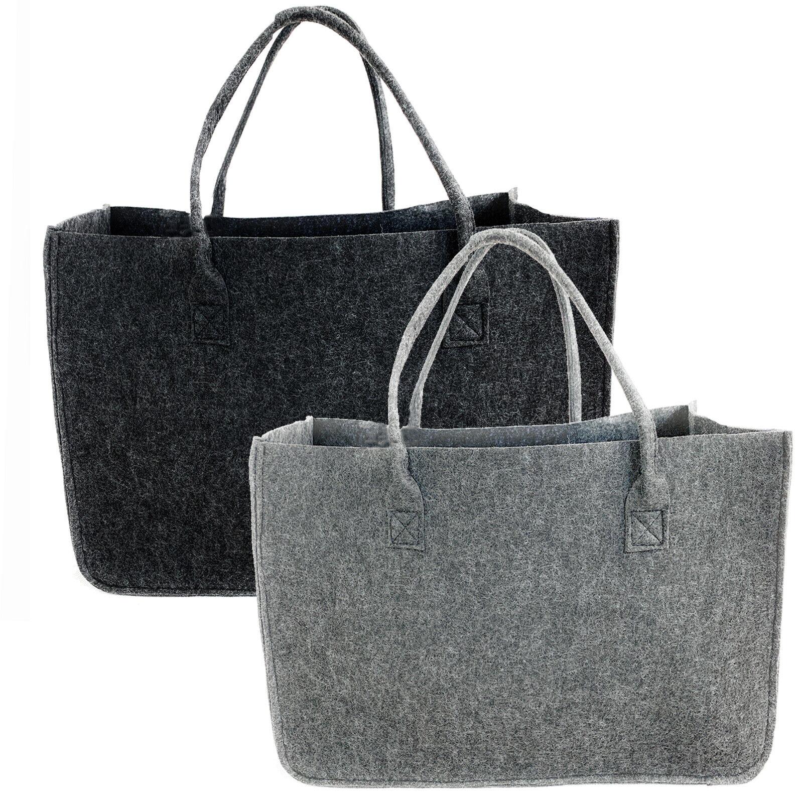 XL Filztasche Shopper Grau ca. 40L Kaminholztasche Tasche Einkaufstasche