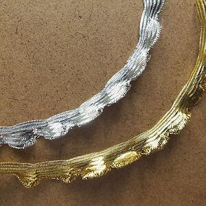 Dorado-plateado-metalico-lurex-brillante-volante-bandeja-ribete-13mm-ancho