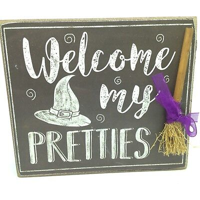Welcome My Pretties WITCH BROOM PLAQUE Table Desk Sign Halloween - Decorate My Desk