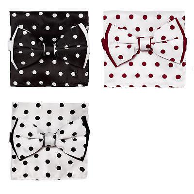 Bow Tie Handkerchief Set Polka Dot Design Solid Color BowTie & Hanky with (Design Bow Tie Set)