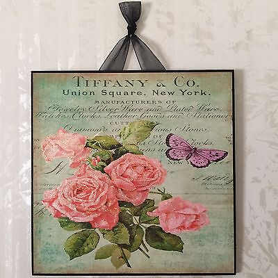 Tiffany & Co. Roses Plaque Wall Decor Sign French Country Cottage Shabby Green