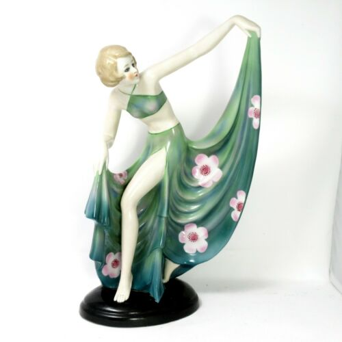 "Rare Antique Fasold & Stauch Dancing Girl Green Dress Lady 15016 10"" Figurine"