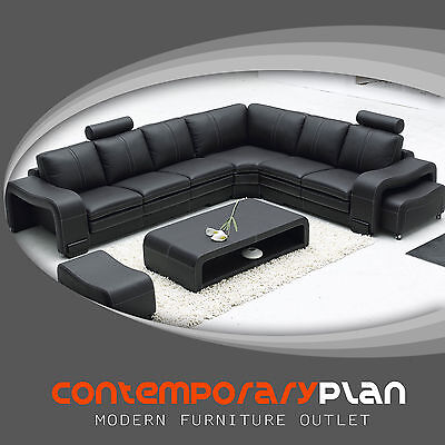 (Black Italian Leather Sectional Sofa with Headrest, Matching Table and Ottomans)