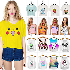 damen cartoon aufdruck tank bauchfreies top freizeit t shirt locker hemden weste ebay. Black Bedroom Furniture Sets. Home Design Ideas