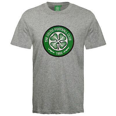 Baumwolle Schwarzen Kurzen Ärmel T-shirt (Celtic Glasgow Herren Wappen T-Shirt, kurze Ärmel - Baumwolle - Schwarz, Grau)