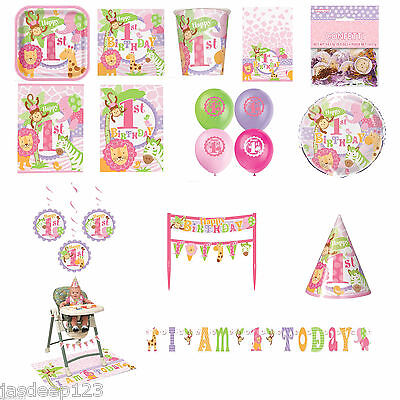 Pink Safari Party (1st Birthday Girl Jungle Safari Pink Tableware Party Decoration Animals)