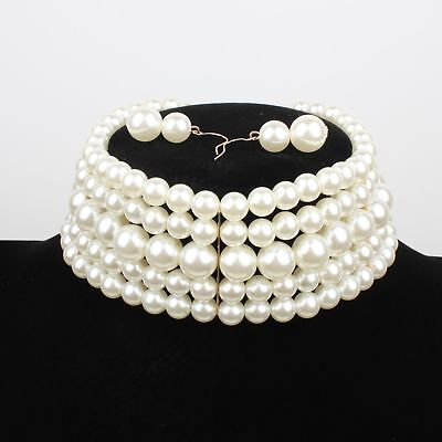 Lady Faux Pearl Choker Necklace Wide Multi Strands Collar Statement Necklace Set Pearl Choker Set