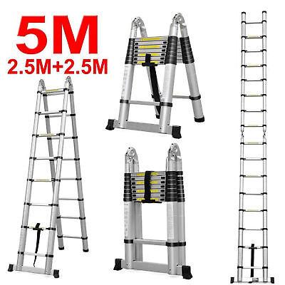 16.5ft Aluminum Multi Purpose Telescopic Ladder Extension Foldable Steps 330lbs