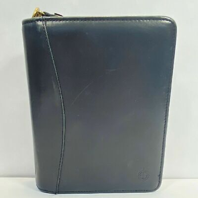Franklin Covey Compact Planner Binder Full Grain Nappa Leather Zipper Black