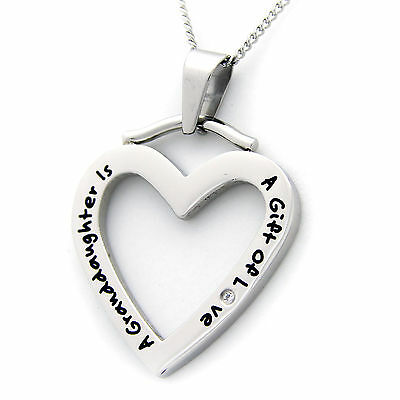 A Granddaughter Is A Gift Of Love Heart Pendant With CZ Stainless Steel (Granddaughter Gift)