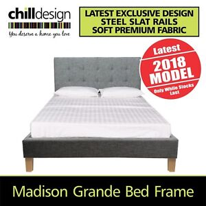 DOUBLE QUEEN OR KING UPHOLSTERED BED FRAME TUFTED FABRIC BEDHEAD