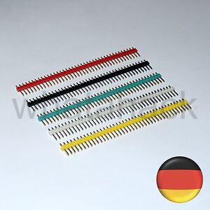 5x Stiftleiste 40 polig RM 2,54 schwarz weiß rot gelb blau Steckerleiste header