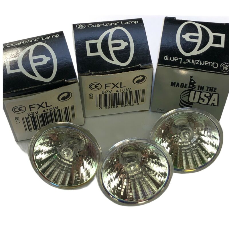 GE FXL 410 Watt 82V Projection Lamp General Electric Quartzline Lot Of 3