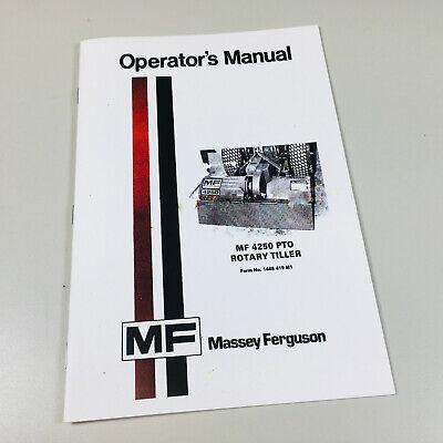 Massey Ferguson Mf 4250 Pto Rotary Tiller Owners Operators Manual Garden Service