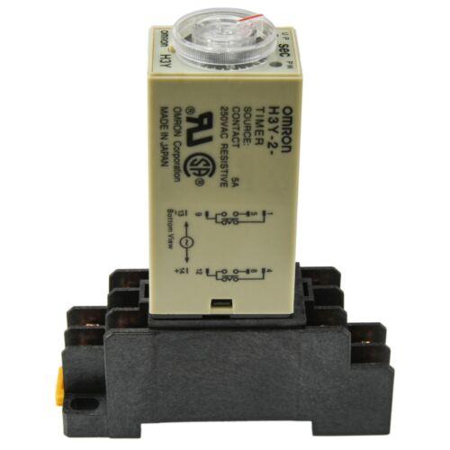 (2 PCs) Omron Solid State Timer H3Y-2 (24V A/C Coil 0-60S) 5A with Socket Base