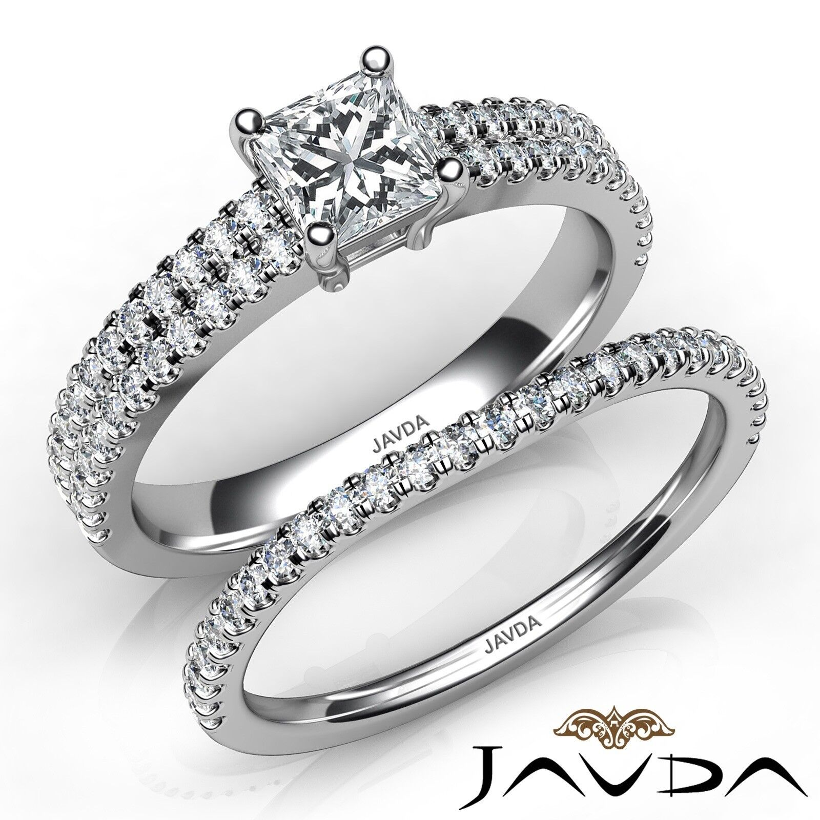 1.52ctw Classic Bridal Set Princess Diamond Engagement Ring GIA E-VS2 Gold