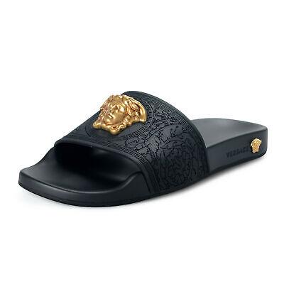 """Versace Women's Black """"Tribute"""" Rubber Medusa Flip Flops Shoes sz 6 8 9.5 11"""