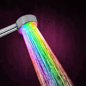 Automatic 7 Color 5 LED Changing Bright Magic Light Shower Head Water Bathroom