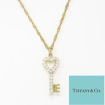 NYJEWEL Tiffany & Co. 18K Gold 1ct Diamond Heart Key Brooch Pin Pendant Necklace