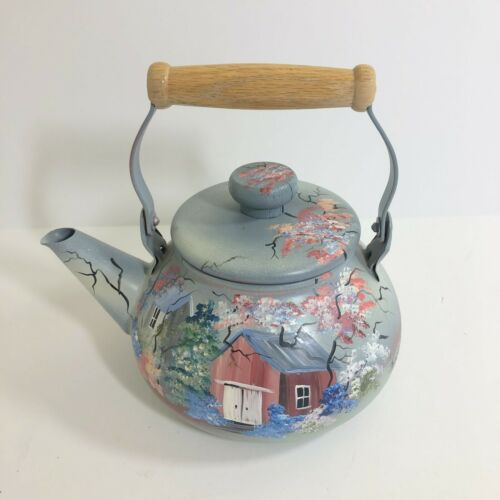 Vintage Hand Painted Tea Kettle Blue Country floral birdhouse scene decor