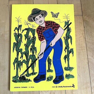 Judy Instructo Wooden Puzzle Farmer Homesteader Vintage 1981 Educational Toy