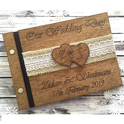 Personalised Wedding Guest Book Scrapbook Album Wooden Rustic Hearts 40 - Wooden Wedding Album