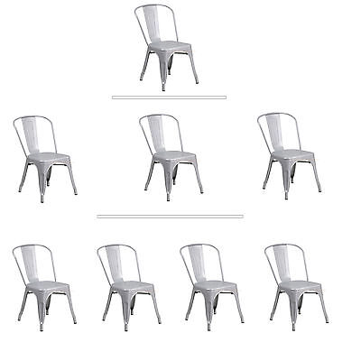Tolix Silver Metal Stacking Dining Chair Commercial Quality 1-4 Unit Discounts ()