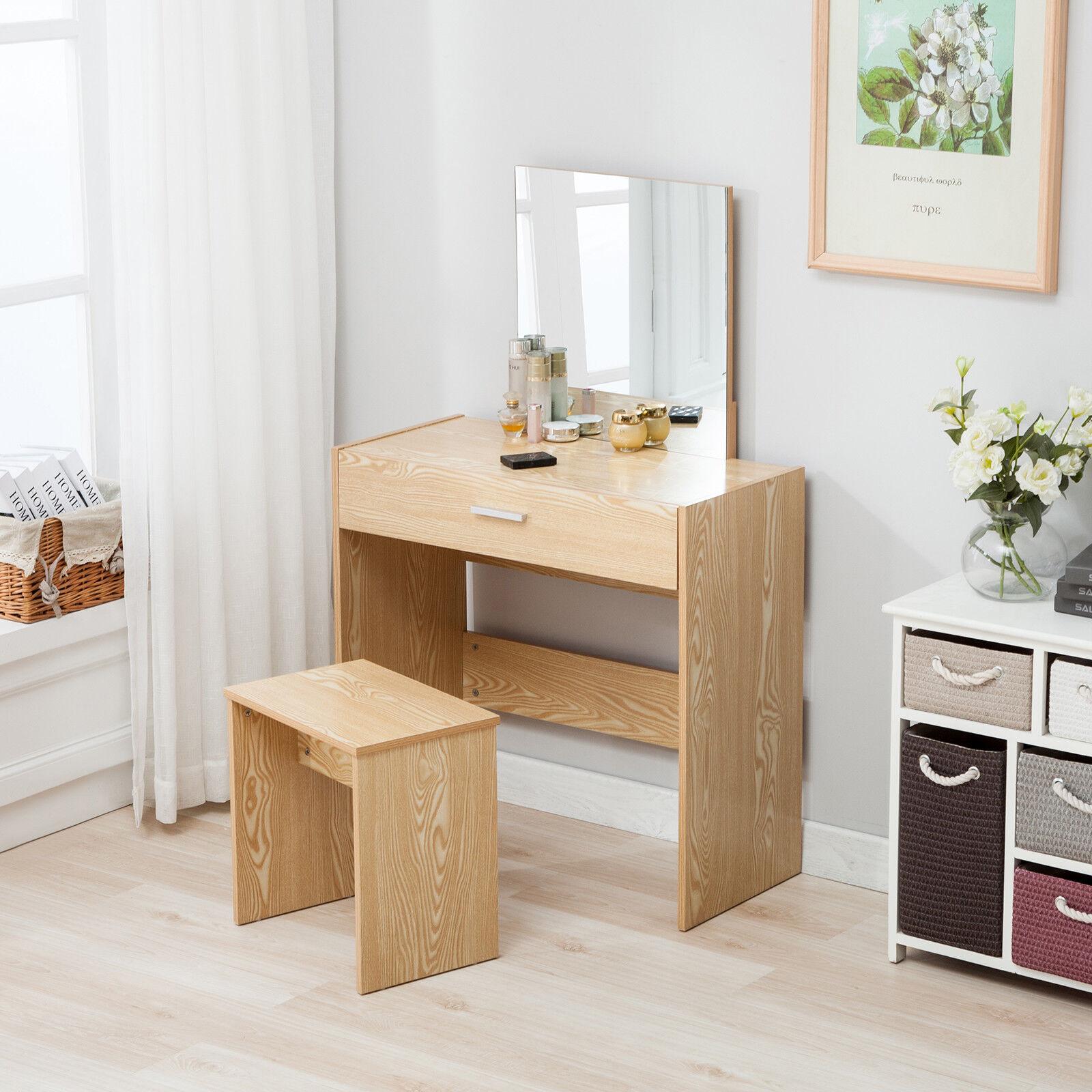 Makeup Vanity Dressing Table Set Desk W Stool Drawer Mirror Bedroom