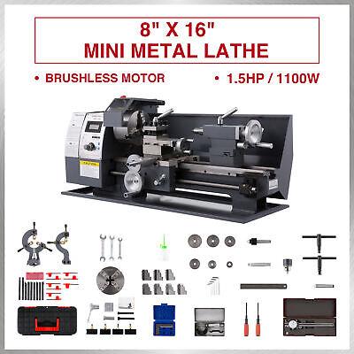 Upgraded 8 16 Mini Metal Lathe 1.5hp 2250rpm 9 Tools Brushless Motor 2 Chuck