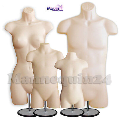 Male Female Child Toddler Set Of 4 Flesh Torso Mannequin Forms W Metal Stands