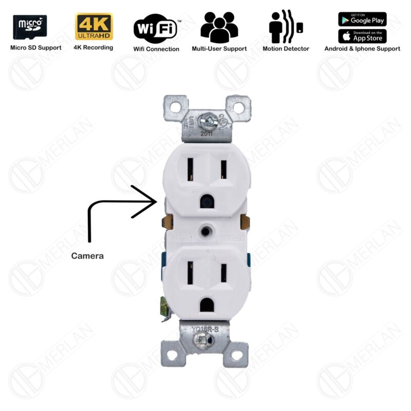 4K WiFi  Full HD Wall AC Outlet Hidden  Spy Camera Audio Voice,video Rec