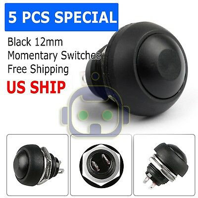 5x Black M4 12mm Waterproof Momentary Onoff Push Button Round Spst Switch