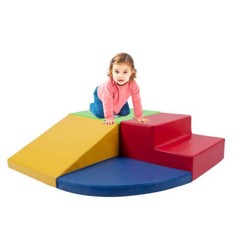 4PCS Climb and Crawl Activity Play Set Soft Foam Toddler Stairs and Ramp Climber